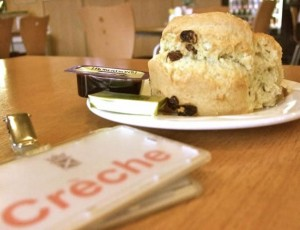 Large scone served at the Scottish Parliament